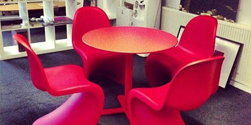 Red Panton chairs and table – Steve Loves It! - Steve Edge World - Steve Edge Design